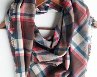 Blanket Scarf, Plaid Blanket, Valentine's Gift Bridesmaids Scarves, Oversized Scarf Flannel Scarf, Gift For Girlfriend