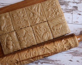 national park forest rolling pin for printed cookies carved rolling pin rolling pin to gingerbread handmade rolling pin