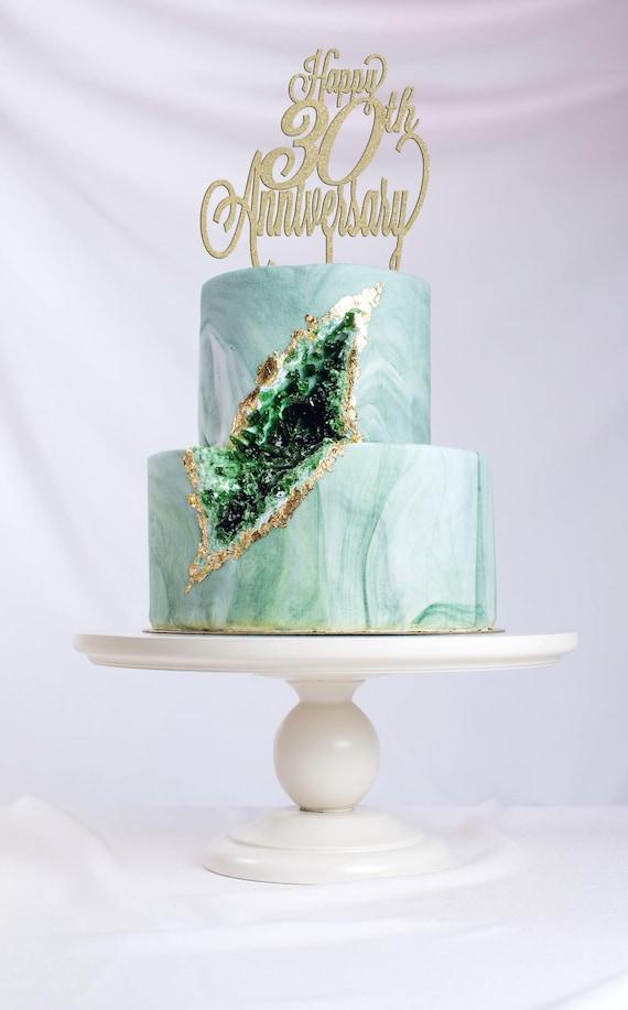 Happy 30th Anniversary, Anniversary Cake Topper, Happy Anniversary Cake, Gold Cake Topper, Glitter Cake Topper, DIY Cake Topper, Rustic Cake
