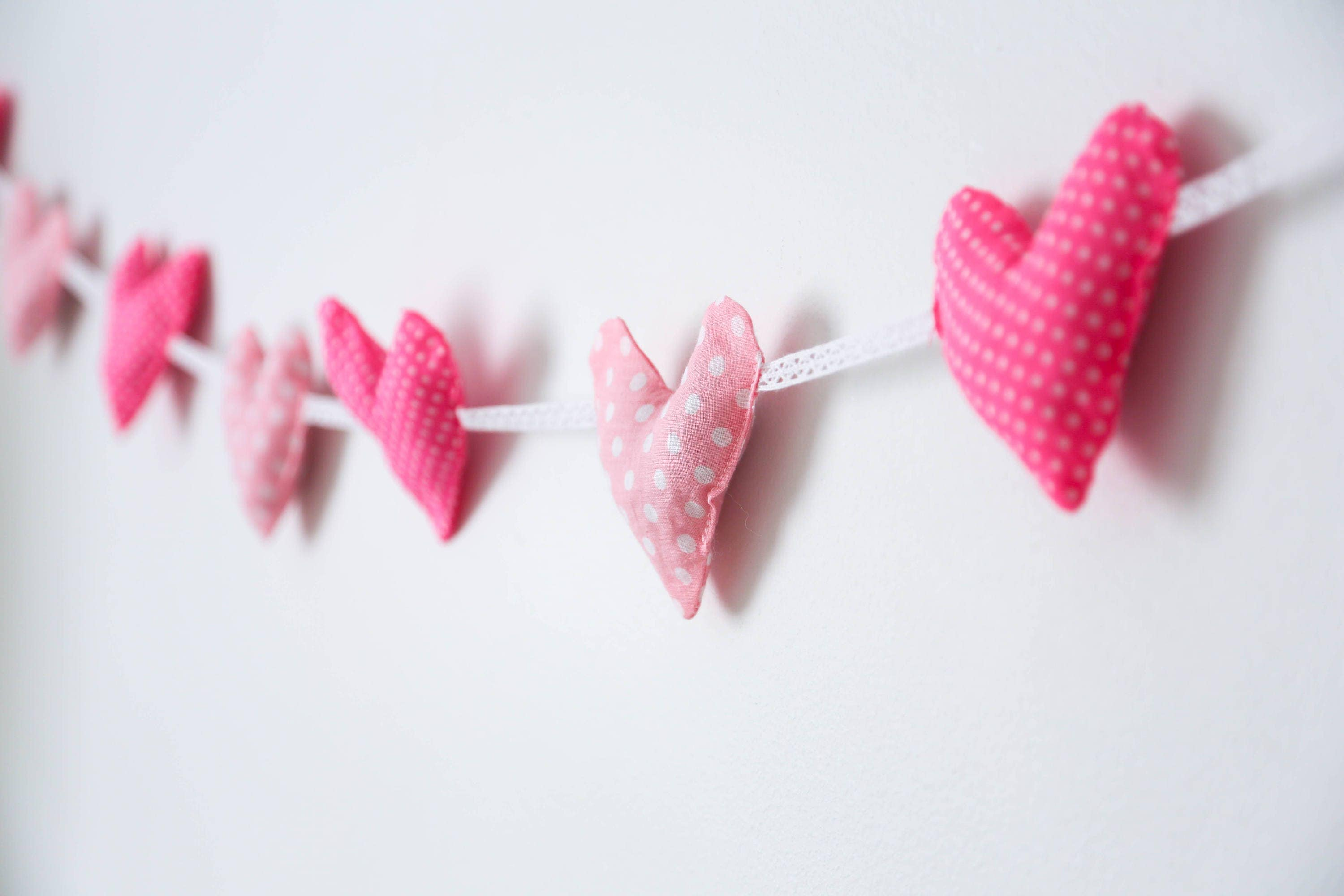 Pink Nursery Heart Garland Baby Room Rustic Fabric Girl Wall Decor Banner House