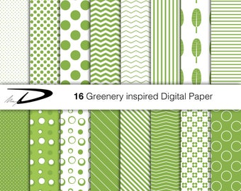 Greenery Digital Paper Pack Pantone Colour of the Year 2017 Basic and greenery inspired Patterns