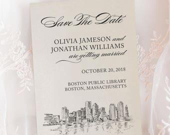 Boston Massachusetts Skyline Wedding New England Engagement Save The Date Cards Wedding Announcement Printed Envelopes