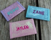 Personalized Girls Nylon Wallet - Zipper, Glitter,  Sparkle, All That Jazz!, Kids Wallet, Embroidered Girl Wallet