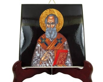 Saint Athanasius of Alexandria - St Athanasius icon on ceramic tile - orthodox icon - byzantine icon - orthodox icons handmade in Italy