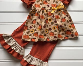Fall Outfit for Girl, Girl Ruffle Pants, Girl Thanksgiving Outfit, Toddler Fall Outfit, Little Girl Outfit, Toddler Girl Fall Clothes