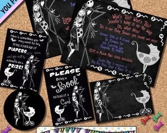 Nightmare before Christmas Baby Shower invitation baby shower party pack Chalkboard Invites