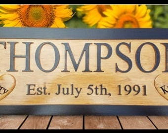 Personalized Family Name Sign Custom Established Signs Last Name Sign Wood family name Sign Wooden Personalized Wedding Gift for Couple BR3