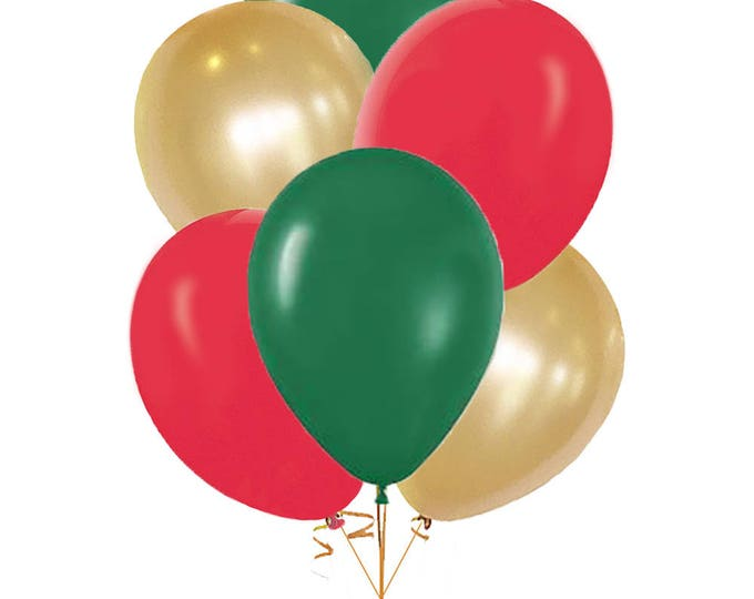 Christmas Latex Balloons, 10 Pack Green Red White Gold Balloons, Pick Your Colors, Evergreen Ruby Red and Pearl White Shimmery Gold Balloons