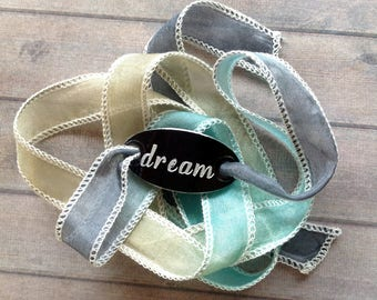 silk wrap bracelet- silk ribbon bracelet-boho-silk wrap-ruband de soie-seidenband-, DREAM #191