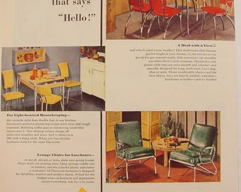 1948 DAYSTROM Kitchen Tables & Chairs + Lounge Chairs Colorful Print Ad