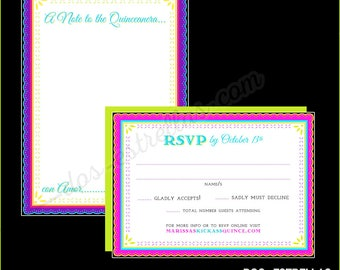 CATRINA XV RSVP cards and envelopes