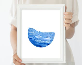 Minimalist Art, Oceanview, Waves, Minimalist Decor, Calming Waters, Blue, Watercolor Art, Geometric Art, Minimalist Design, Sailing, Waves