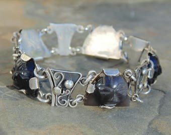 Vintage Mexican Sterling and Carved Obsidian Warrior Face Link Bracelet - c. 1940's