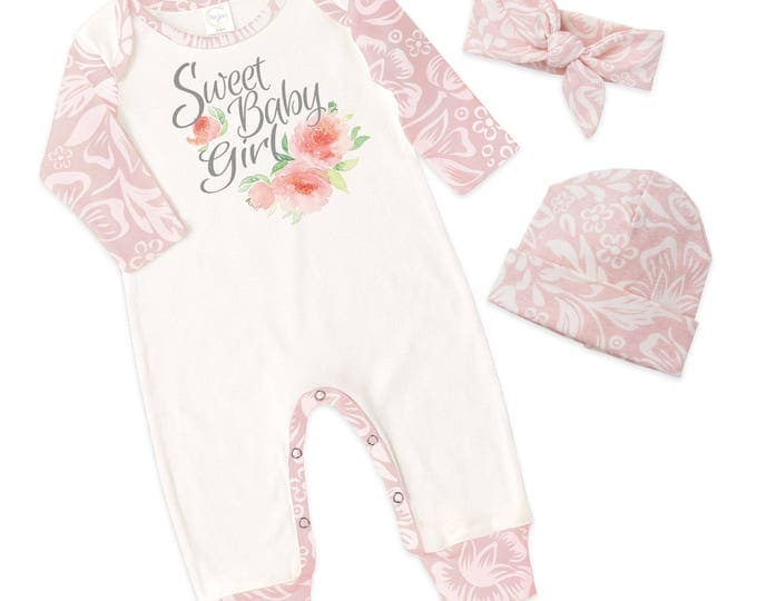Baby Girl Romper, Newborn Girl Take Home Romper, Ivory and Pink Floral Long Sleeve Romper, Sweet Baby Girl, TesaBabe