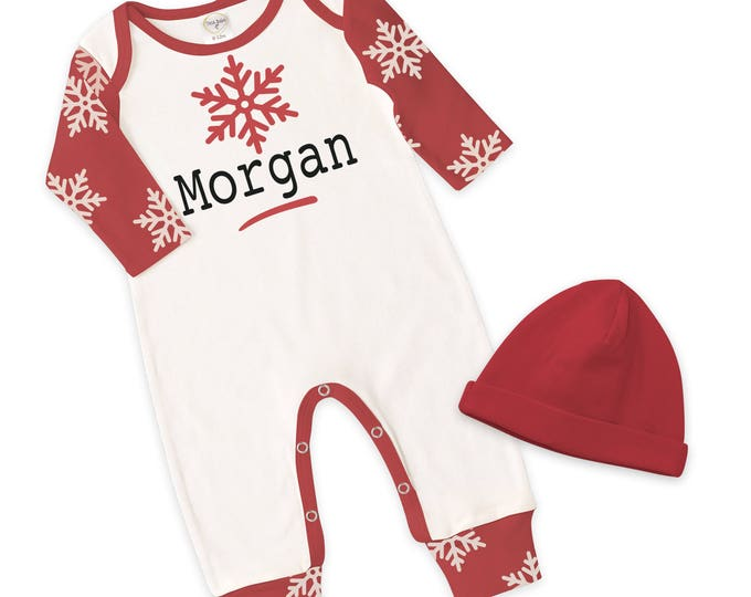 Personalized Christmas Baby Romper, Custom Red Xmas Baby Outfit, Baby Christmas Onesie, Red Snowflake, Red Baby Hat, Tesa Babe