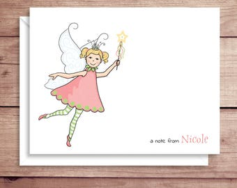 Fairy Note Cards - Girl Folded Note Cards - Personalized Children's Stationery - Thank You Notes - Illustrated Note Cards