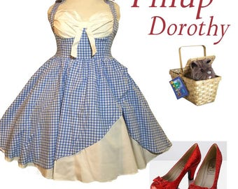 Pinup Retro Rockabilly Blue Gingham Dress - Pinup Dorothy