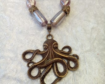 Cthulhu / Octopus Necklace and Earring set in Antique Bronze and Pink - Steampunk - Vintage - Gift Boxed - Gift