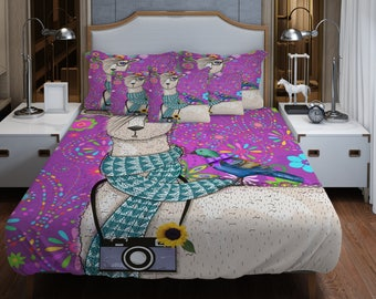 Purple Hipster Llama Bedding Duvet Cover or Comforter  , Twin Full  Queen King