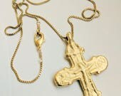 Necklace - Rare Crusader Crucifix 35x49mm - 18K Gold Vermeil with Parisian Chain