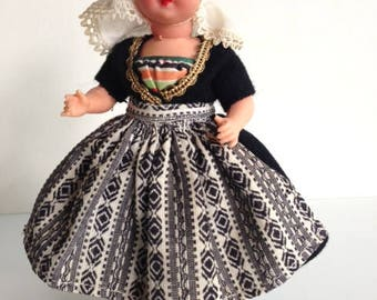 Vintage Dutch doll in traditional clothes from Zeeland province