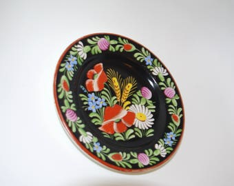 Bohemian porcelain Vintage Black Wall Plate Czech pottery / Floral Plate / Decorative plate Hand Painted Antique wall dish Folk wall hanging