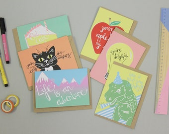 Multi Pack Cards, Pack of Note Cards, Birthday Cards, Celebration Card, Valentines Card,
