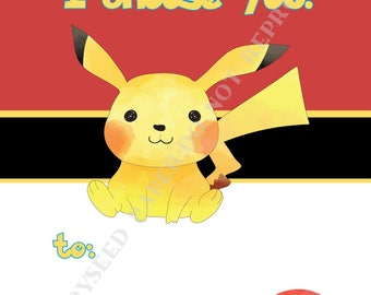 Pokemon Valentines Day Cards personalized - Set of 12, 24, or 36, or Digital File only