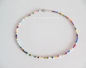 Multicolor Seed Bead Choker, Beaded Choker Necklace, Seed Bead Necklace Choker, Tiny Multicolor Bead Choker, Popular Bead Choker