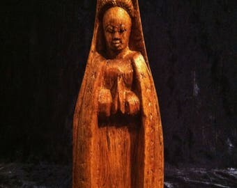 Vintage Virgin Mary Statue In Hand Carved Mahogany