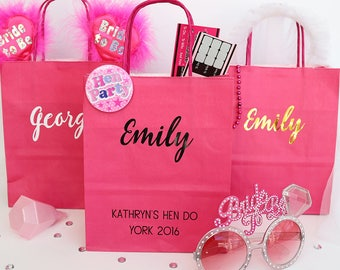 Personalised Hen Party Gift Bag | Hen Do Survival Kit | Team Bride Bags | Hen Party Favour Bag Hen Do Bags Hen Night Bags Hen Party Favours