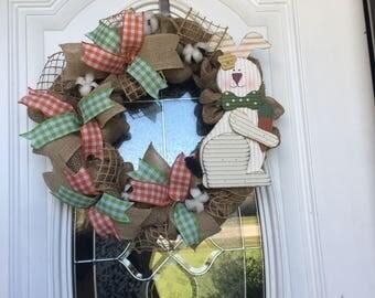Burlap Easter Wreath Burlap Wreath Burlap Door Hanger, Easter Bunny Housewarming Spring Wreath Spring Door hanger Front Door Decor Easter