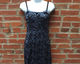 Vintage 90s Black Blue Lace Spaghetti Strap Dress