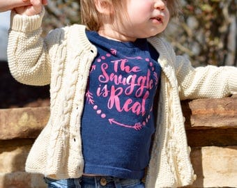 The Snuggle Is Real - Navy Toddler Long-Sleeve T-Shirt