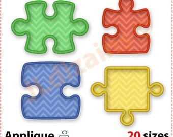 Puzzle Piece Applique Design Set. Puzzle embroidery designs. Puzzle piece applique embroidery design. Applique machine embroidery designs.