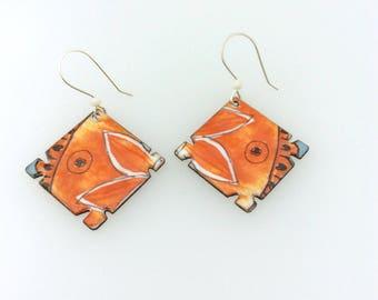 Diamond shape Rustic enamel copper earrings with Artisan sterling silver ear wires