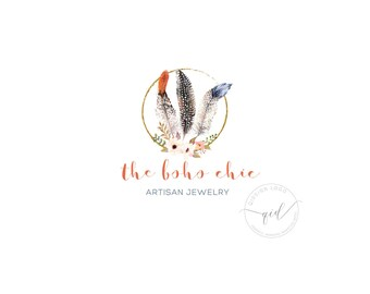 Premade logo with delicate feather and gold glitter circle, perfect for rustic artisan jewelry, kids boutique, boho business, photography