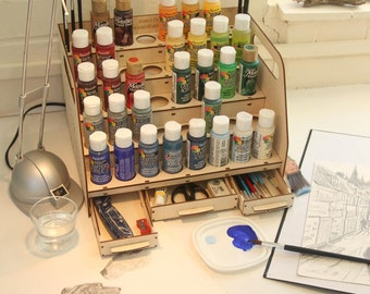 Paint Station - perfect for storing your paints and brushes. Perfect painter's accessory. DIY kit.
