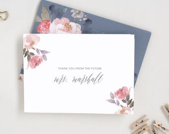 Wedding Thank Yous. Newly Engaged Gift. Personalized Stationary for a Couple. Floral Bridal Shower Thank You Card. Thank You Notes MRS15.