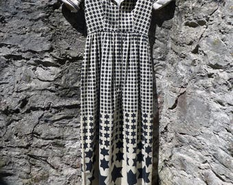 authentic vintage 1970s OSCAR de la RENTA boutique cotton MAXI dress stars sailor moon S