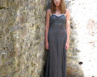 STUNNING 70s sparkle FLORAL FORMAL dress maxi black silver lurex