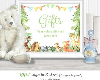 """GIFTS & Cards SIGN for your Celebrations in 3 sizes - (11 x 14"""", 8 x 10"""", 5 x 7"""") Baby Shower watercolor Woodland theme, diy PRINTABLE, 95BA"""