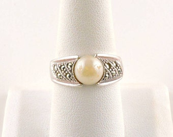 Size 9 Sterling Silver Marcasite And Faux Pearl Ring