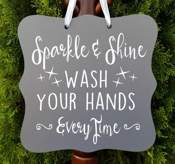 Sparkle & Shine, Wash Your Hands Every Time, Bathroom Sign, Powder Room, Daycare Sign, Kids Sign