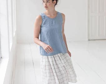 Linen blouse SUMMER in Swedish blue/ swing linen top/ linen tank top