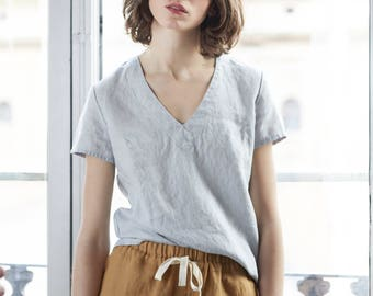 Linen tee ZURICH / Linen tee in V neck / available in 34 colors
