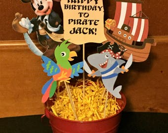 Mickey Mouse Centerpiece, Mickey Mouse Pirate Themed Centerpiece, Kids Birthday, Disney Trip, Personalize w/Name and Age