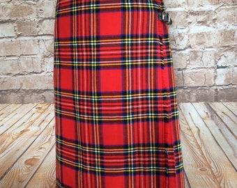 Vintage Kilt Pleated Skirt Red Tartan Plaid Check Courtelle By Borderglen Classic Fall Autumn Winter 26in Waist  c 1970s