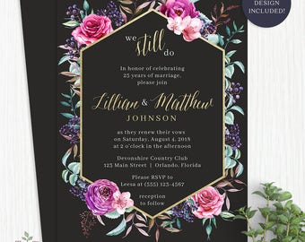 Watercolor Vow Renewal Invitation Watercolor Flower Vow Renewal Invitations Watercolor Vow Renewal Invite We Still Do Invitation - 2013