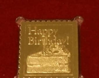 Gold foil postage stamp, first day issue gold foil stamps, collectable gold foil stamps, happy birthday stamp